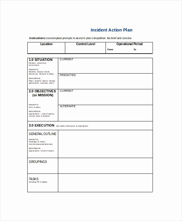 Incident Action Plan Template Fresh Word Action Plan Template 14 Free Word Document