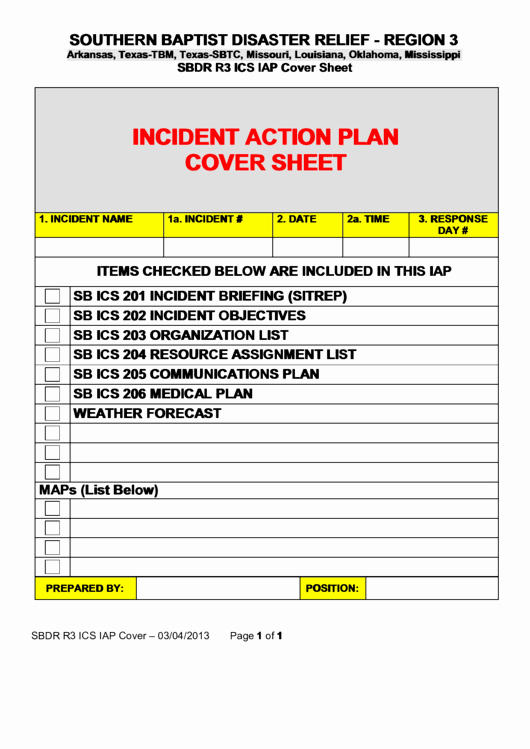 Incident Action Plan Template Luxury Incident Action Plan Cover Sheet Printable Pdf