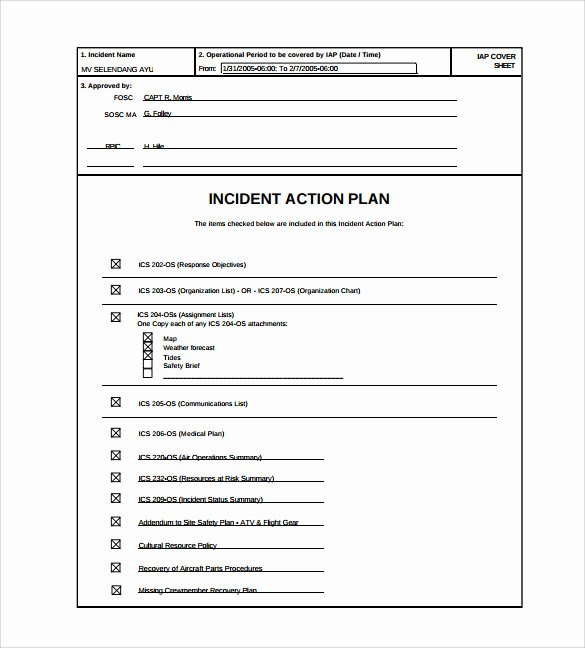 Incident Action Plan Template Luxury Sample Incident Action Plan Template 9 Free Documents