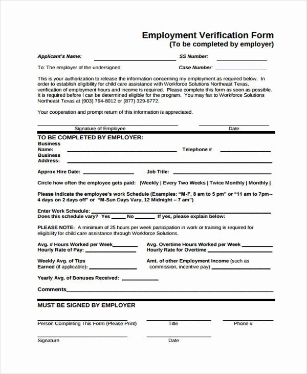 Income Verification form Template Awesome Verification form Templates