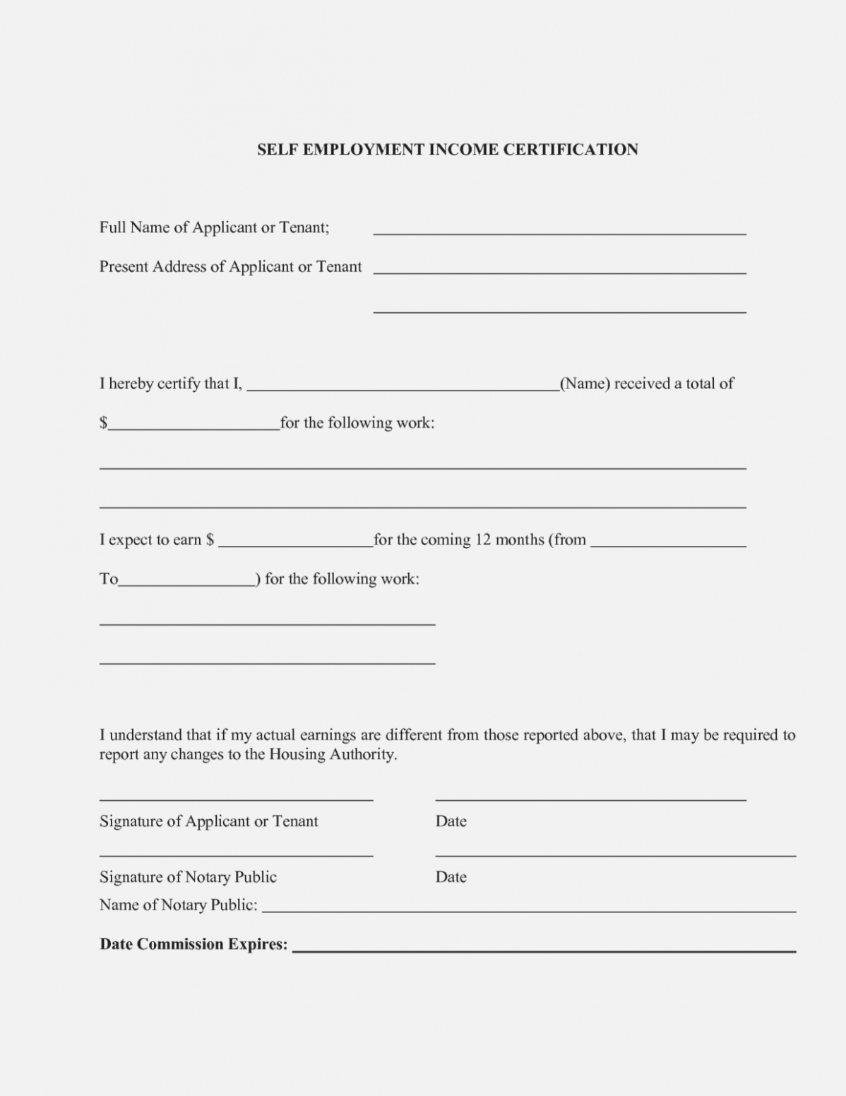 Income Verification form Template Awesome why is Self Employment