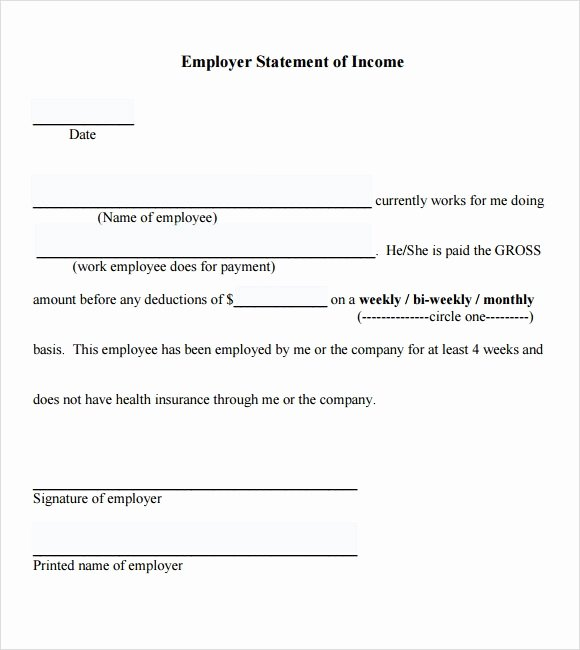 Income Verification form Template Unique 7 Proof Of In E Letter Pdf