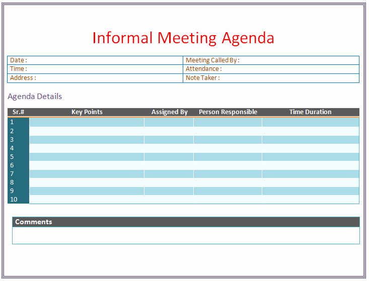 Informal Meeting Minutes Template Beautiful Informal Meeting Agenda Template organize Meetings