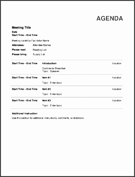 Informal Meeting Minutes Template Best Of 6 Informal Meeting Agenda Template Sampletemplatess