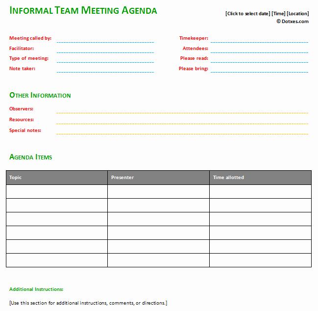 Informal Meeting Minutes Template Fresh Informal Meeting Agenda Template with Basic format