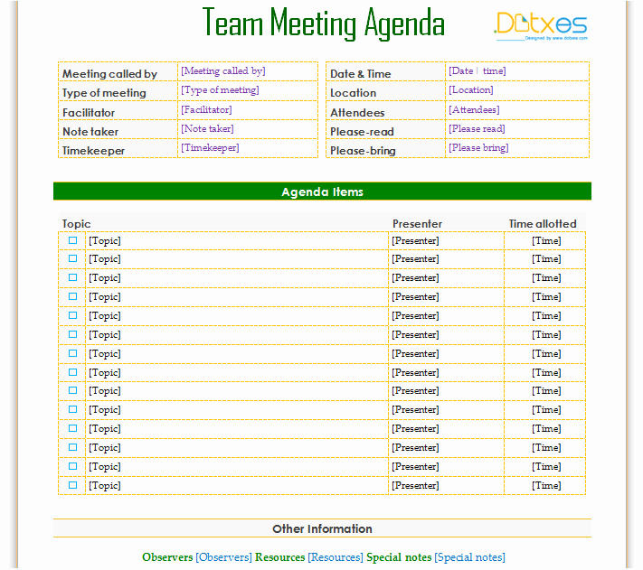 Informal Meeting Minutes Template Fresh Informal Team Meeting Agenda to Improve Your Team Meeting