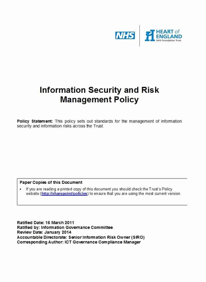 Information Security Policy Template Beautiful 42 Information Security Policy Templates [cyber Security