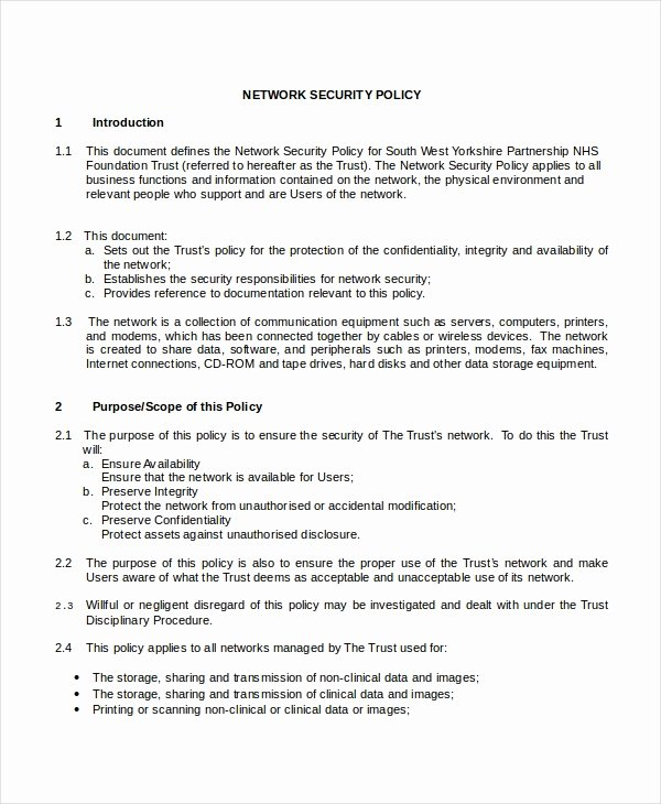 Information Security Policy Template Beautiful Security Policy Template 7 Free Word Pdf Document