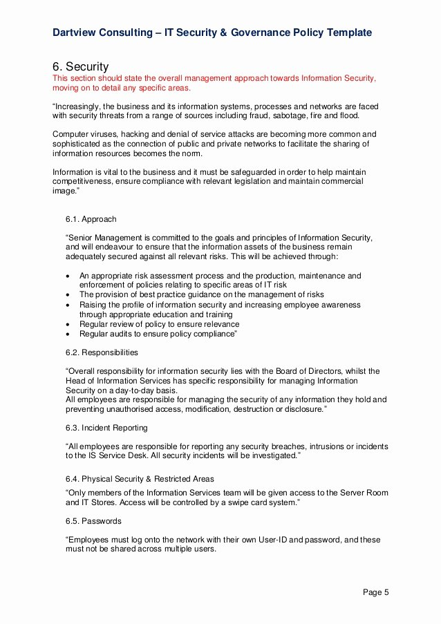 Information Security Policy Template Elegant It Security & Governance Template