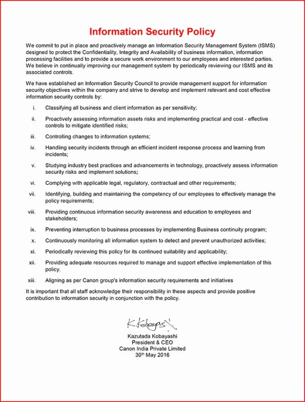 Information Security Policy Template Fresh Information Security Policy Template