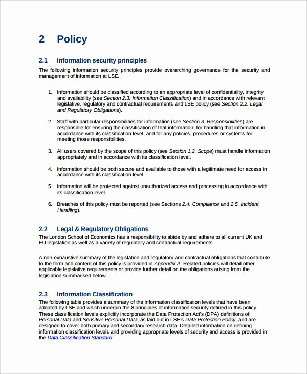 Information Security Policy Template Inspirational Sample It Security Policy Template 9 Free Documents