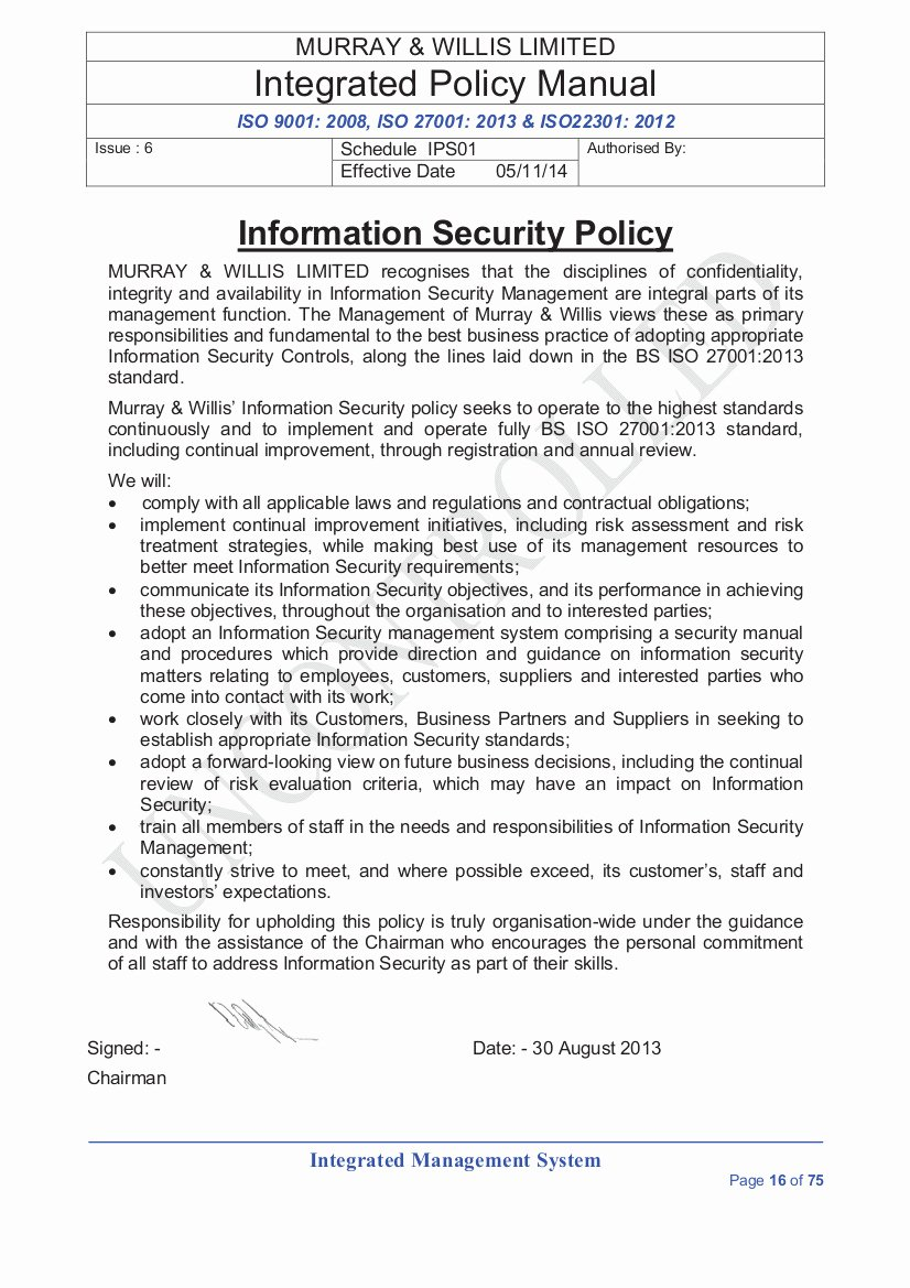 Information Security Policy Template New Information Security Policies