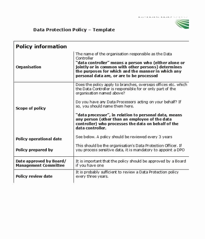 Information Security Policy Template Unique 42 Information Security Policy Templates [cyber Security