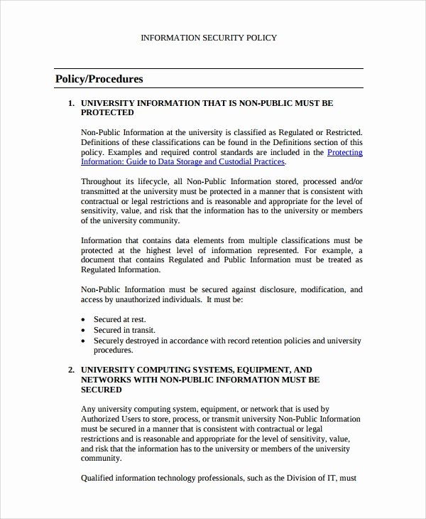 Information Security Policy Template Unique Sample It Security Policy Template 9 Free Documents