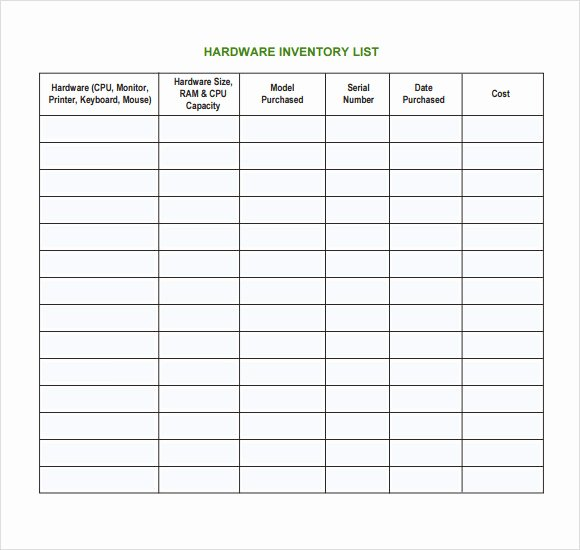 Information Technology Inventory Template New Free 6 It Inventory Templates In Pdf
