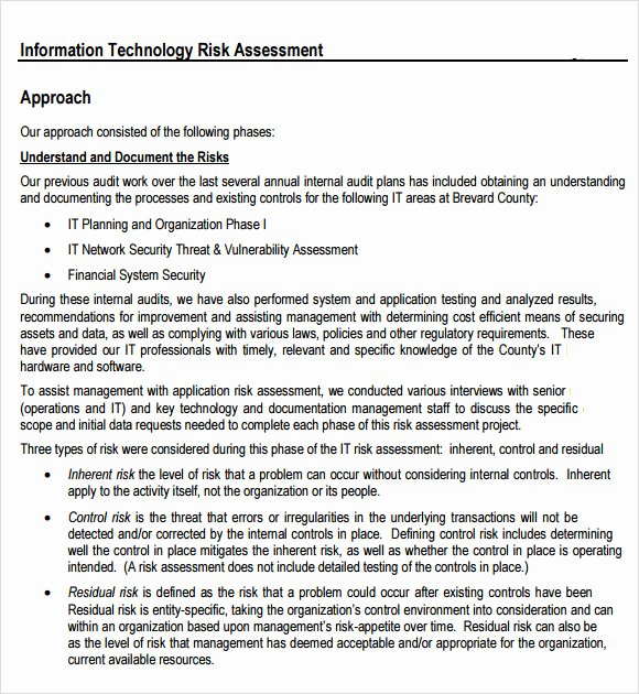 Information Technology Risk assessment Template Beautiful 7 It Risk assessment Templates – Free Samples Examples