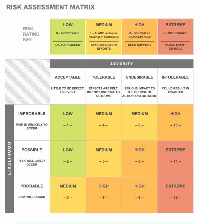 Information Technology Risk assessment Template Fresh Risk assessment Matrix Free Download Aashe