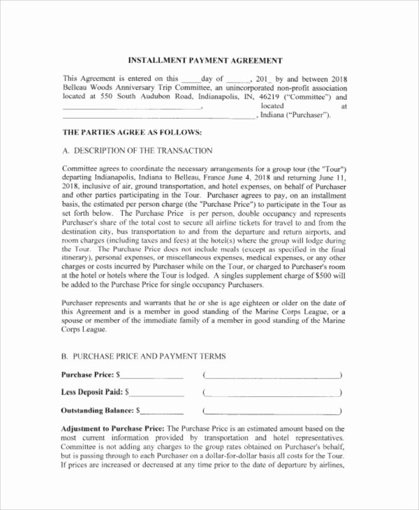 Installment Payment Agreement Template Awesome Payment Agreement Contract Sample 17 Examples In Word