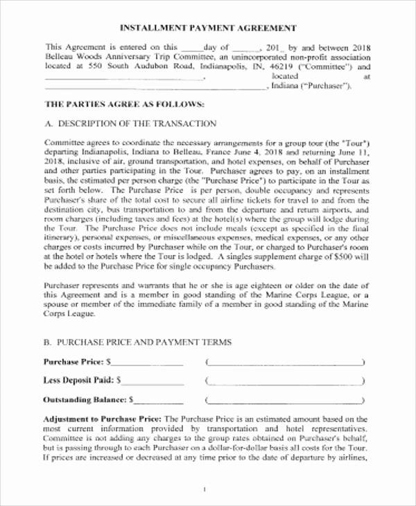 Installment Payment Agreement Template Best Of 14 Sample Payment Agreements Free Sample Example