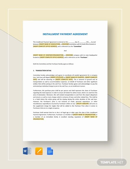 Installment Payment Agreement Template Elegant 22 Payment Agreement Templates Word Pdf Google Docs