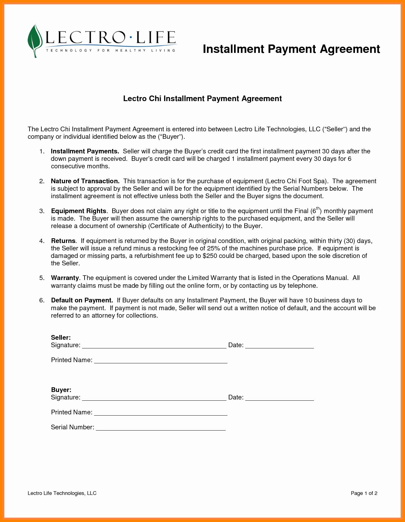 Installment Payment Agreement Template Inspirational 7 Installment Payment Plan Agreement Template