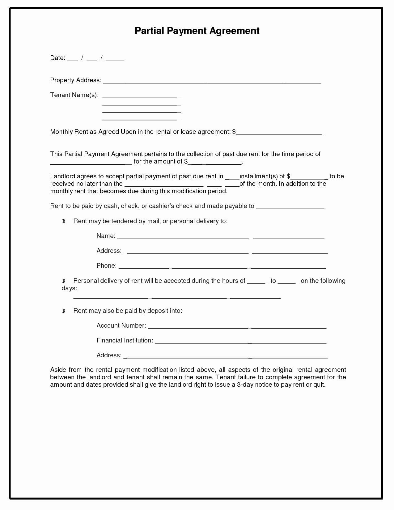 Installment Payment Agreement Template New Payment Agreement Sample original 8 Best Installment