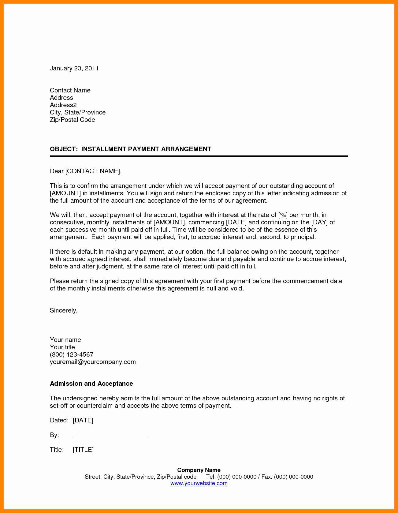 Installment Payment Agreement Template Unique 9 Installment Payment Agreement