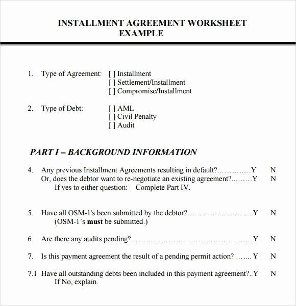 Installment Payment Agreement Template Unique Installment Agreement – 7 Free Samples Examples format