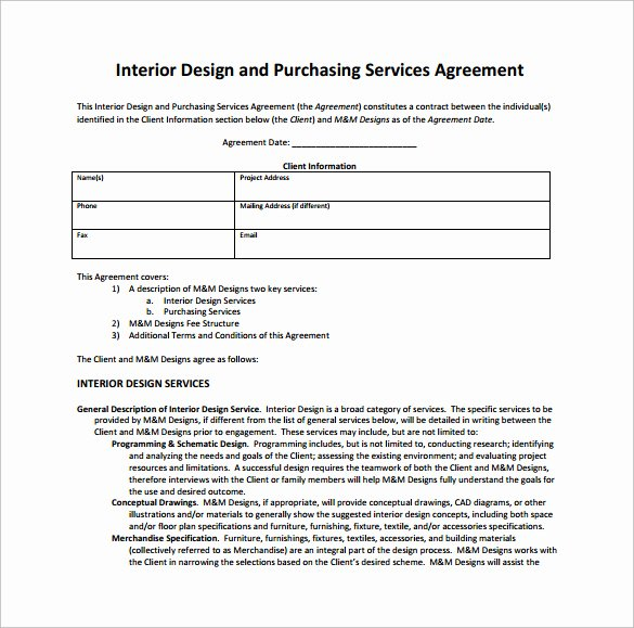 Interior Design Contract Templates Awesome Interior Design Contract
