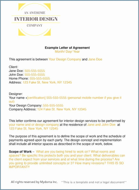 Interior Design Contract Templates Beautiful How to Write An Interior Design Letter Of Agreement or