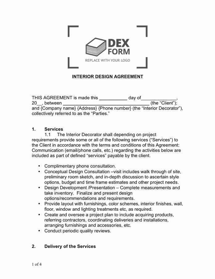 Interior Design Contract Templates Best Of Interior Design Agreement Sample In Word and Pdf formats