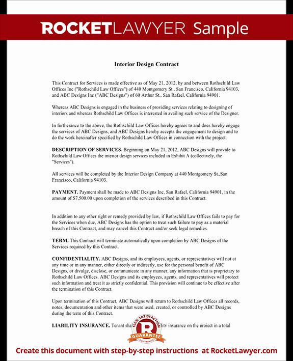 Interior Design Contract Templates Best Of Interior Design Contract Agreement Template with Sample