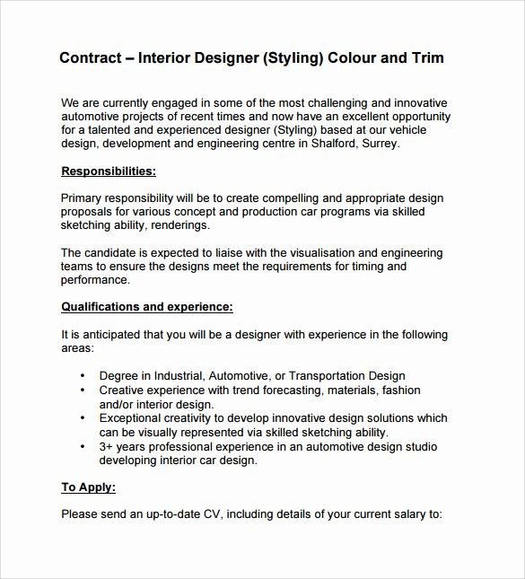 Interior Design Contract Templates Elegant Interior Design Contract Template 12 Download Documents