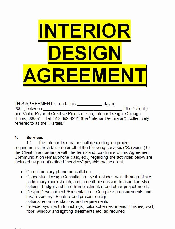 Interior Design Contract Templates Lovely Interior Design Agreement Template Sample Letters for Free