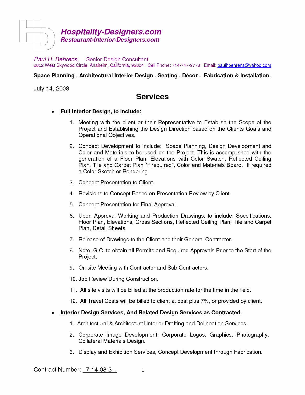 Interior Design Contract Templates Lovely Interior Design Contract Template
