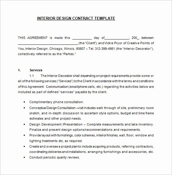 Interior Design Contract Templates New 7 Interior Designer Contract Templates Word Pages Pdf