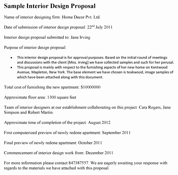 Interior Design Proposal Template Best Of Interior Design Proposal Template
