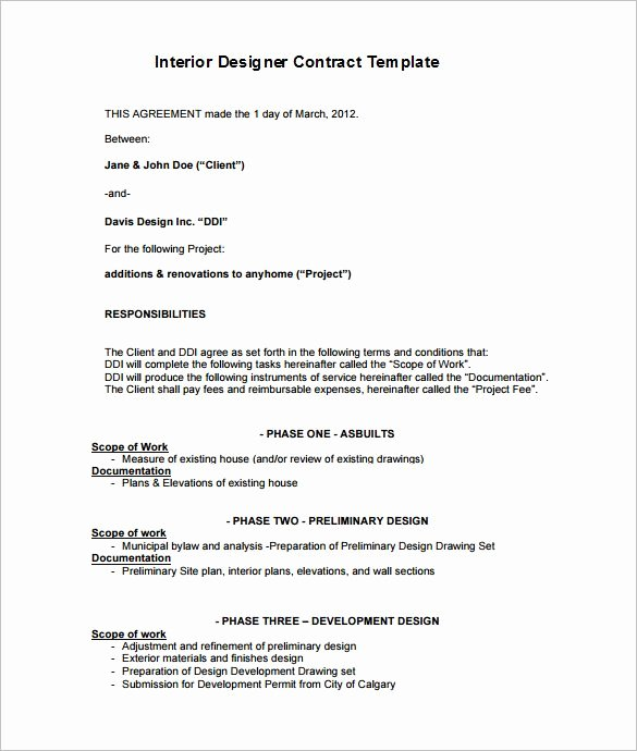 Interior Design Proposal Template New 6 Interior Designer Contract Templates Free Word Pdf