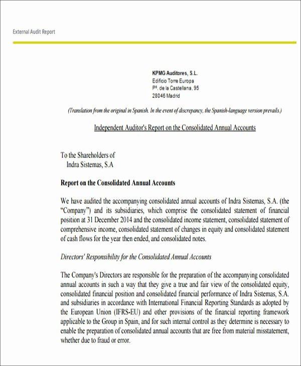 Internal Audit Report Templates Beautiful 7 Sample External Audit Reports Docs Ms Word Page7