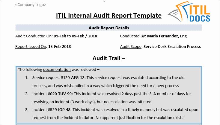 Internal Audit Report Templates Beautiful Itil Internal Audit Report Template – Itil Docs