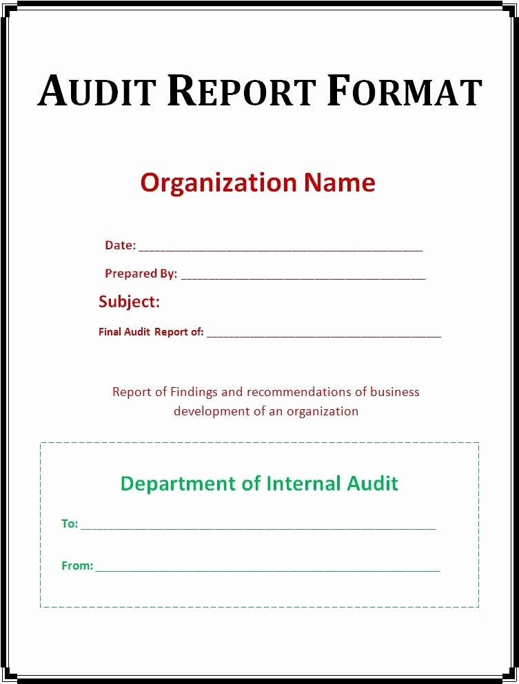 Internal Audit Report Templates Elegant Audit Report Template