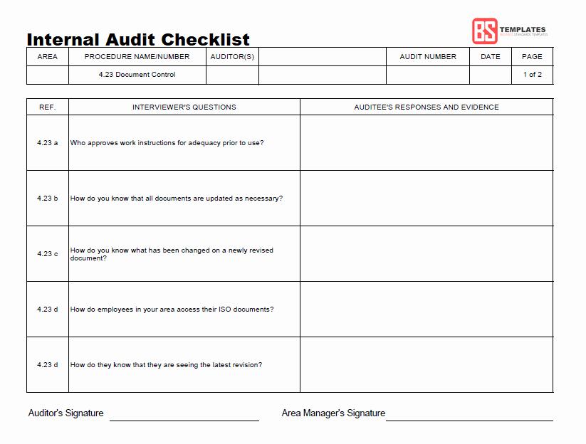 Internal Audit Report Templates Unique 15 Internal Audit Checklist Templates Samples Examples