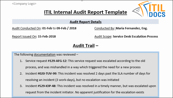 Internal Audit Reports Templates Awesome Itil Internal Audit Report Template – Itil Docs