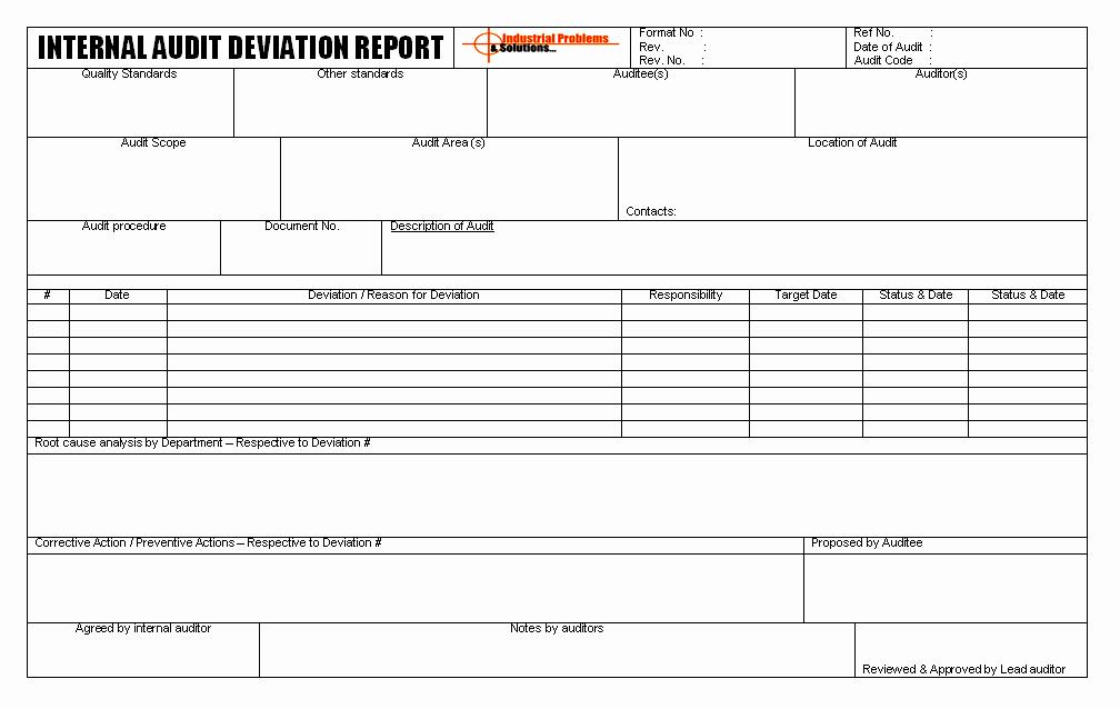 Internal Audit Reports Templates Fresh Internal Audit Deviation Documentation