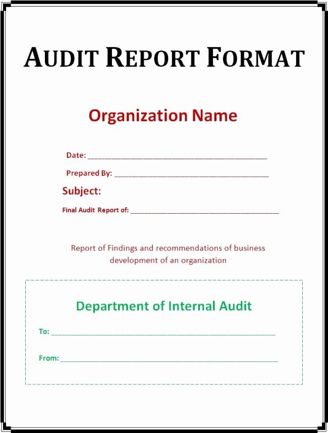 Internal Audit Reports Templates Fresh Very Simple Audit Report format Template Example with
