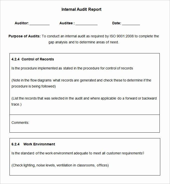 Internal Audit Reports Templates Inspirational 19 Internal Audit Report Templates Free Sample Example