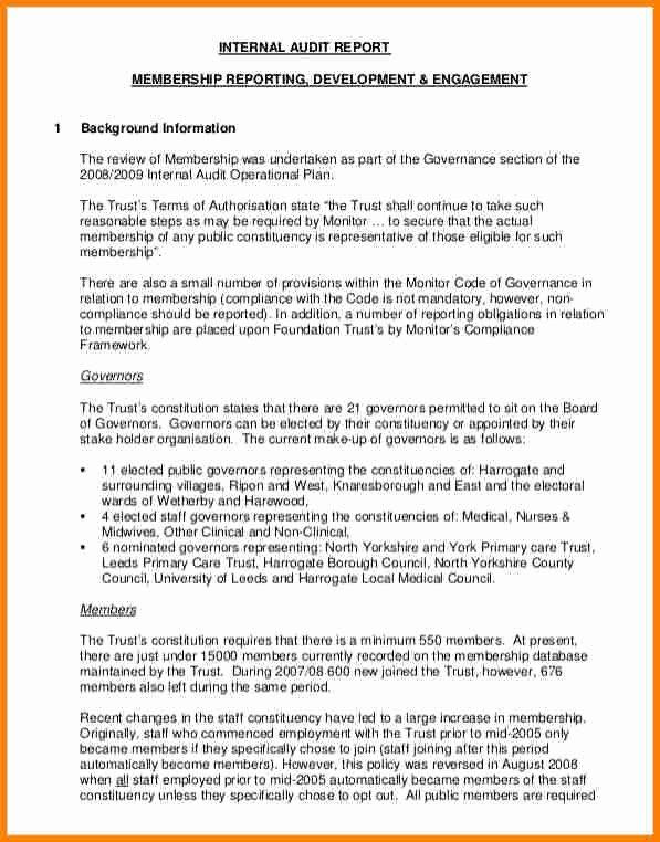 Internal Audit Reports Templates Unique 9 Internal Audit Report Sample