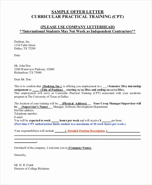 Internship Offer Letter Template Beautiful Sample Fer Letter 10 Examples In Word Pdf