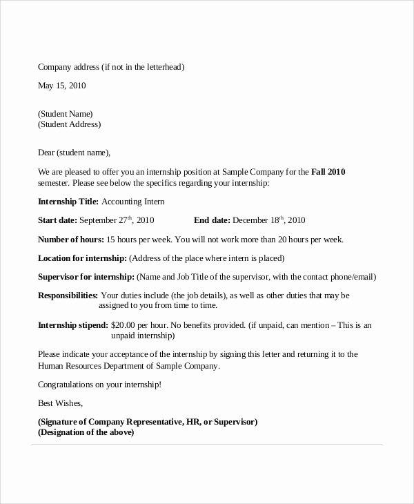 Internship Offer Letter Template Best Of 11 Sample Internship Acceptance Letters Pdf Doc