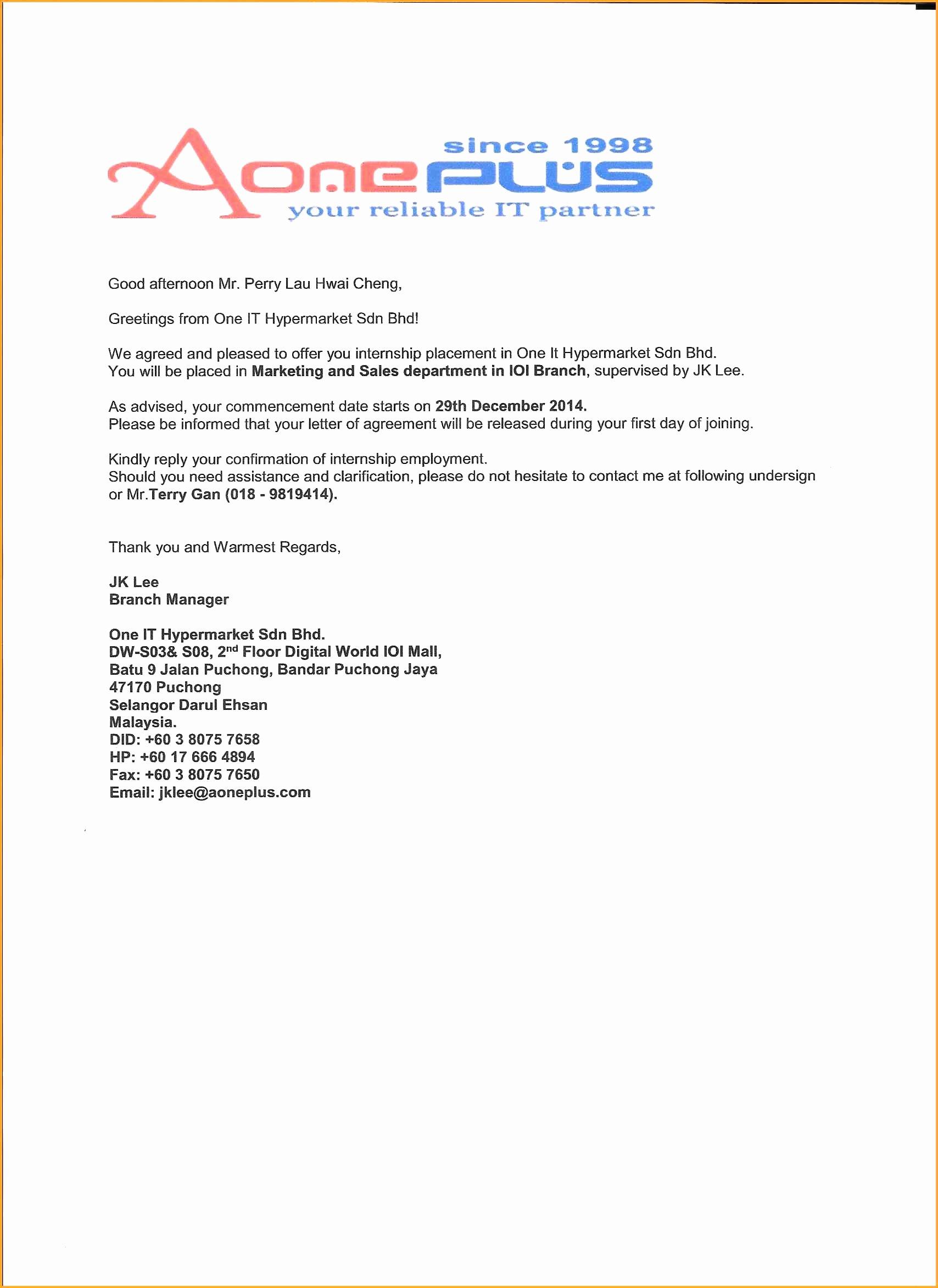 Internship Offer Letter Template Elegant 15 Internship Letter From Pany